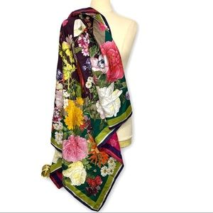 ST. Piece Floral Double Side 100% Silk Scarf